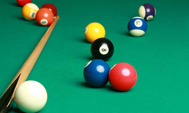 cue stick and billiard balls