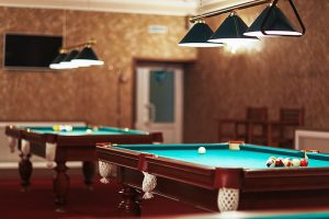 room with pool tables
